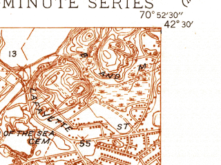 Reduced fragment of topographic map en--usgs--024k--027044--(1944)--N042-30-00_W071-00-00--N042-22-30_W070-52-30; towns and cities Lynn, Revere, Winthrop, Swampscott, Nahant