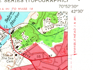 Reduced fragment of topographic map en--usgs--024k--027044--(1956)--N042-30-00_W071-00-00--N042-22-30_W070-52-30; towns and cities Lynn, Revere, Swampscott, Winthrop, Nahant