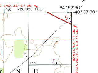 Reduced fragment of topographic map en--usgs--024k--027046--(1960)--N040-07-30_W085-00-00--N040-00-00_W084-52-30; towns and cities Lynn