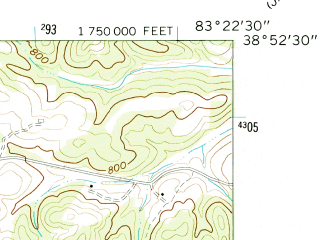 Reduced fragment of topographic map en--usgs--024k--027062--(1961)--N038-52-30_W083-30-00--N038-45-00_W083-22-30
