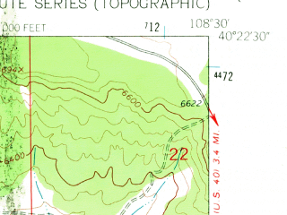 Reduced fragment of topographic map en--usgs--024k--027084--(1962)--N040-22-30_W108-37-30--N040-15-00_W108-30-00