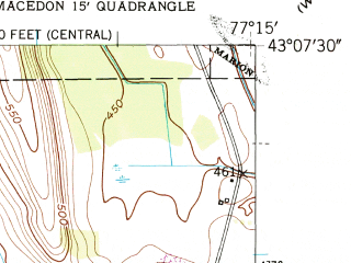 Reduced fragment of topographic map en--usgs--024k--027105--(1951)--N043-07-30_W077-22-30--N043-00-00_W077-15-00; towns and cities Macedon