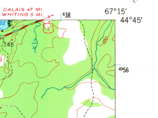 Reduced fragment of topographic map en--usgs--024k--027113--(1949)--N044-45-00_W067-22-30--N044-37-30_W067-15-00 in area of Holmes Bay, Little Bay