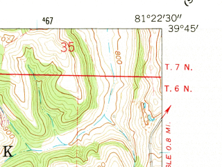 Reduced fragment of topographic map en--usgs--024k--027129--(1961)--N039-45-00_W081-30-00--N039-37-30_W081-22-30; towns and cities Dexter City, Macksburg