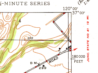 Reduced fragment of topographic map en--usgs--024k--027166--(1947)--N037-00-00_W120-07-30--N036-52-30_W120-00-00; towns and cities Madera, Parksdale, Parkwood