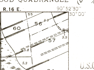 Reduced fragment of topographic map en--usgs--024k--027167--(1940)--N030-00-00_W091-00-00--N029-52-30_W090-52-30
