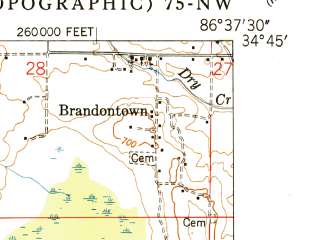 Reduced fragment of topographic map en--usgs--024k--027170--(1950)--N034-45-00_W086-45-00--N034-37-30_W086-37-30; towns and cities Huntsville, Redstone Arsenal, Madison