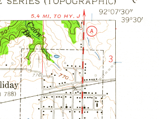 Reduced fragment of topographic map en--usgs--024k--027180--(1959)--N039-30-00_W092-15-00--N039-22-30_W092-07-30; towns and cities Holliday, Madison