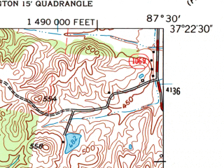 Reduced fragment of topographic map en--usgs--024k--027208--(1962)--N037-22-30_W087-37-30--N037-15-00_W087-30-00; towns and cities Madisonville, Earlington