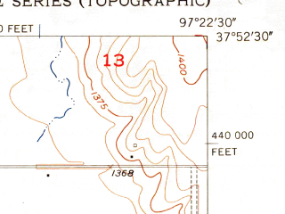 Reduced fragment of topographic map en--usgs--024k--027296--(1956)--N037-52-30_W097-30-00--N037-45-00_W097-22-30; towns and cities Maize