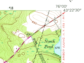 Reduced fragment of topographic map en--usgs--024k--027339--(1957)--N043-22-30_W076-07-30--N043-15-00_W076-00-00; towns and cities Constantia