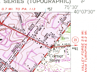 Reduced fragment of topographic map en--usgs--024k--027378--(1955)--N040-07-30_W075-37-30--N040-00-00_W075-30-00; towns and cities Malvern