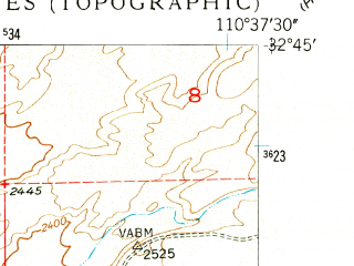 Reduced fragment of topographic map en--usgs--024k--027383--(1948)--N032-45-00_W110-45-00--N032-37-30_W110-37-30; towns and cities Mammoth