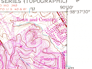 Reduced fragment of topographic map en--usgs--024k--027406--(1954)--N038-37-30_W090-37-30--N038-30-00_W090-30-00; towns and cities Ballwin, Ellisville, Manchester, Peerless Park, Twin Oaks