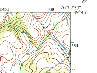 Reduced fragment of topographic map en--usgs--024k--027419--(1953)--N039-45-00_W077-00-00--N039-37-30_W076-52-30; towns and cities Manchester