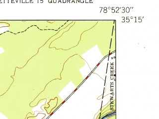 Reduced fragment of topographic map en--usgs--024k--027420--(1950)--N035-15-00_W079-00-00--N035-07-30_W078-52-30; towns and cities Spring Lake