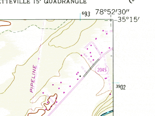 Reduced fragment of topographic map en--usgs--024k--027420--(1957)--N035-15-00_W079-00-00--N035-07-30_W078-52-30; towns and cities Spring Lake