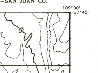 Reduced fragment of topographic map en--usgs--024k--027429--(1957)--N037-45-00_W109-37-30--N037-37-30_W109-30-00