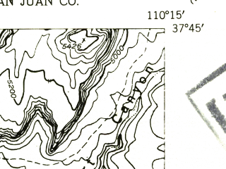Reduced fragment of topographic map en--usgs--024k--027431--(1954)--N037-45-00_W110-22-30--N037-37-30_W110-15-00