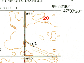 Reduced fragment of topographic map en--usgs--024k--027448--(1949)--N047-37-30_W100-00-00--N047-30-00_W099-52-30