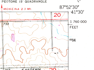 Reduced fragment of topographic map en--usgs--024k--027458--(1953)--N041-30-00_W088-00-00--N041-22-30_W087-52-30; towns and cities Manhattan