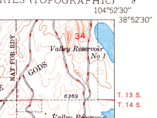 Reduced fragment of topographic map en--usgs--024k--027482--(1950)--N038-52-30_W105-00-00--N038-45-00_W104-52-30; towns and cities Manitou Springs