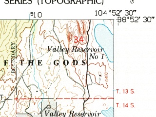 Reduced fragment of topographic map en--usgs--024k--027482--(1961)--N038-52-30_W105-00-00--N038-45-00_W104-52-30; towns and cities Manitou Springs