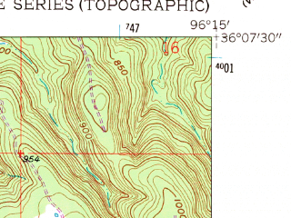 Reduced fragment of topographic map en--usgs--024k--027503--(1958)--N036-07-30_W096-22-30--N036-00-00_W096-15-00; towns and cities Mannford