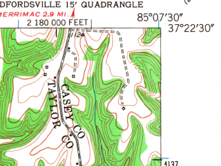 Reduced fragment of topographic map en--usgs--024k--027518--(1952)--N037-22-30_W085-15-00--N037-15-00_W085-07-30