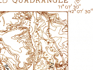 Reduced fragment of topographic map en--usgs--024k--027536--(1936)--N042-07-30_W071-15-00--N042-00-00_W071-07-30; towns and cities Foxborough, Mansfield Center, Sharon