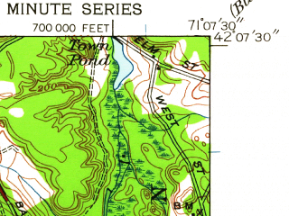 Reduced fragment of topographic map en--usgs--024k--027536--(1946)--N042-07-30_W071-15-00--N042-00-00_W071-07-30; towns and cities Foxborough, Mansfield Center, Sharon