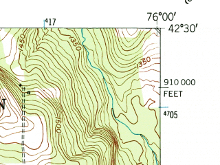 Reduced fragment of topographic map en--usgs--024k--027618--(1950)--N042-30-00_W076-07-30--N042-22-30_W076-00-00; towns and cities Marathon