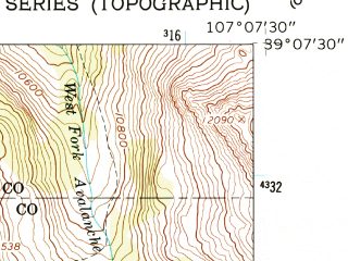Reduced fragment of topographic map en--usgs--024k--027623--(1960)--N039-07-30_W107-15-00--N039-00-00_W107-07-30; towns and cities Marble