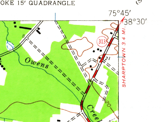Reduced fragment of topographic map en--usgs--024k--027655--(1942)--N038-30-00_W075-52-30--N038-22-30_W075-45-00; towns and cities Mardela Springs, Vienna