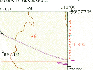 Reduced fragment of topographic map en--usgs--024k--027686--(1952)--N033-07-30_W112-07-30--N033-00-00_W112-00-00; towns and cities Ak-chin Village