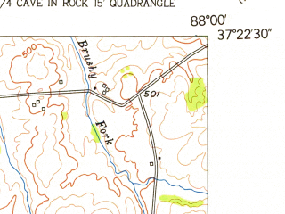 Reduced fragment of topographic map en--usgs--024k--027709--(1954)--N037-22-30_W088-07-30--N037-15-00_W088-00-00; towns and cities Marion