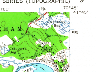Reduced fragment of topographic map en--usgs--024k--027723--(1962)--N041-45-00_W070-52-30--N041-37-30_W070-45-00; towns and cities Marion Center, Mattapoisett Center