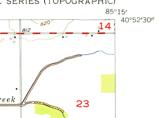 Reduced fragment of topographic map en--usgs--024k--027756--(1955)--N040-52-30_W085-22-30--N040-45-00_W085-15-00; towns and cities Markle