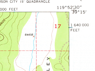 Reduced fragment of topographic map en--usgs--024k--027774--(1955)--N039-15-00_W120-00-00--N039-07-30_W119-52-30 in area of Marlette Lake