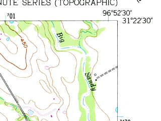 Reduced fragment of topographic map en--usgs--024k--027778--(1957)--N031-22-30_W097-00-00--N031-15-00_W096-52-30; towns and cities Marlin