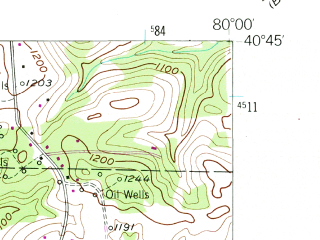 Reduced fragment of topographic map en--usgs--024k--027805--(1953)--N040-45-00_W080-07-30--N040-37-30_W080-00-00; towns and cities Callery, Fox Run, Mars