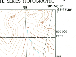 Reduced fragment of topographic map en--usgs--024k--027813--(1953)--N035-37-30_W102-00-00--N035-30-00_W101-52-30