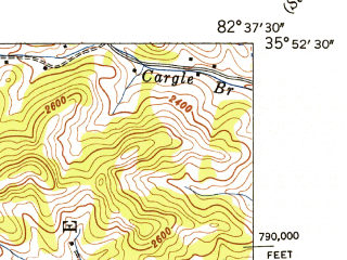 Reduced fragment of topographic map en--usgs--024k--027824--(1946)--N035-52-30_W082-45-00--N035-45-00_W082-37-30; towns and cities Marshall