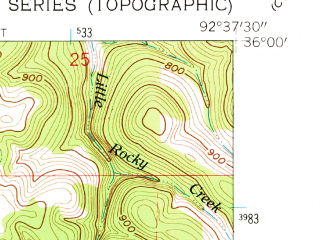 Reduced fragment of topographic map en--usgs--024k--027828--(1962)--N036-00-00_W092-45-00--N035-52-30_W092-37-30; towns and cities Gilbert, Marshall
