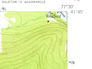 Reduced fragment of topographic map en--usgs--024k--027851--(1947)--N041-45-00_W077-37-30--N041-37-30_W077-30-00