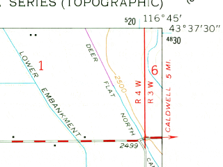 Reduced fragment of topographic map en--usgs--024k--027853--(1958)--N043-37-30_W116-52-30--N043-30-00_W116-45-00; towns and cities Marsing