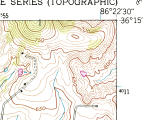 Reduced fragment of topographic map en--usgs--024k--027863--(1951)--N036-15-00_W086-30-00--N036-07-30_W086-22-30; towns and cities Belinda City