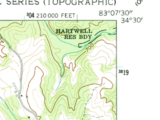 Reduced fragment of topographic map en--usgs--024k--027869--(1960)--N034-30-00_W083-15-00--N034-22-30_W083-07-30; towns and cities Martin