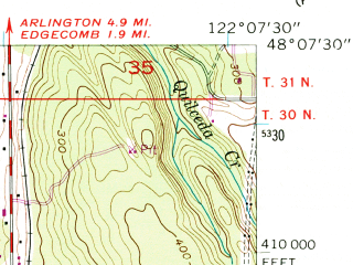 Reduced fragment of topographic map en--usgs--024k--027927--(1956)--N048-07-30_W122-15-00--N048-00-00_W122-07-30; towns and cities Marysville, North Marysville, John Sam Lake, Priest Point, Shaker Church