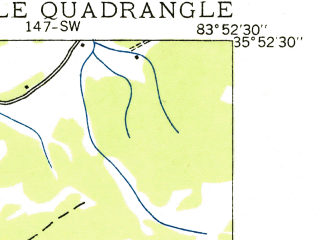 Reduced fragment of topographic map en--usgs--024k--027929--(1935)--N035-52-30_W084-00-00--N035-45-00_W083-52-30; towns and cities Alcoa, Eagleton Village, Rockford